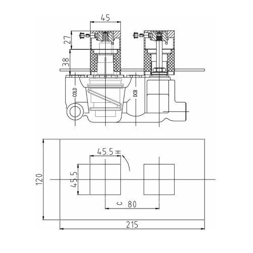 Hudson Reed Chrome Lennox Thermostatic Vavle SQR3210