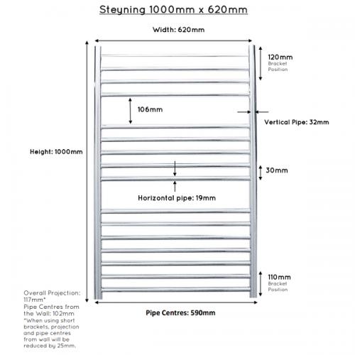 JIS Steyning 620 Stainless Steel Heated Towel Rail-22311