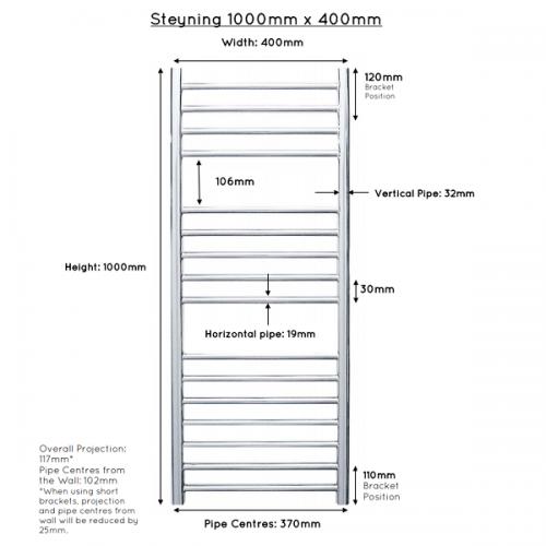 JIS Steyning 400 Stainless Steel 1000x400mm Heated Towel Rail-22306