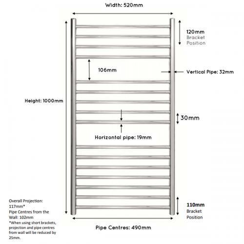 JIS Steyning 520 Stainless Steel 1000x520mm Heated Towel Rail-22309