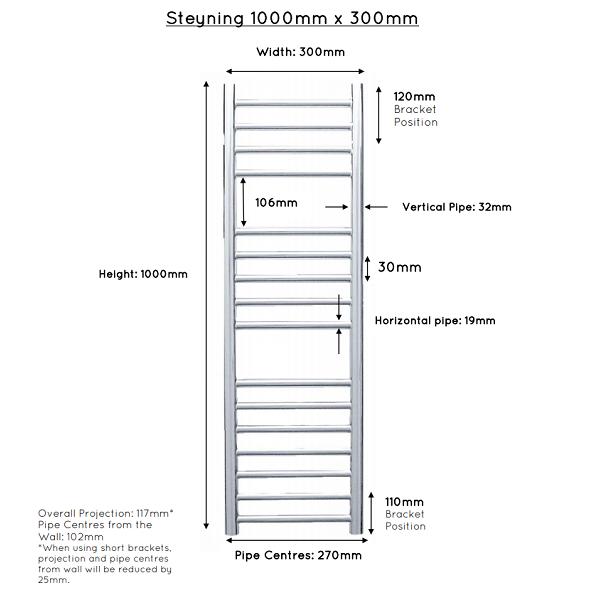 JIS Steyning 300 Stainless Steel 1000x700mm Heated Towel Rail-22305