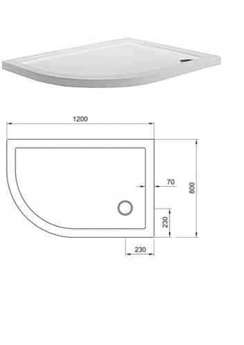 Simpsons Quadrant Offset Tray 800 x 1000mm Left Hand STQ81000L