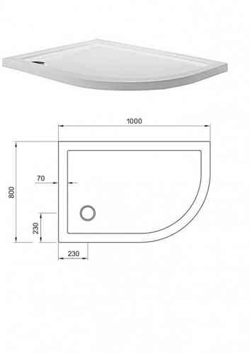 Simpsons Quadrant Offset Tray 800 x1000mm Right Hand STQ81000R