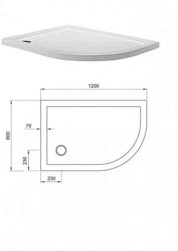 Simpsons Quadrant Offset Tray 800 x1200mm Right Hand STQ81200R