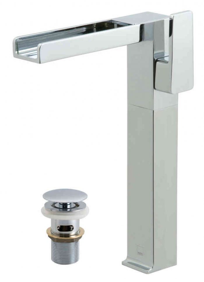 Vado extended basin mixer with waterfall SYN-100E/CC-C/P
