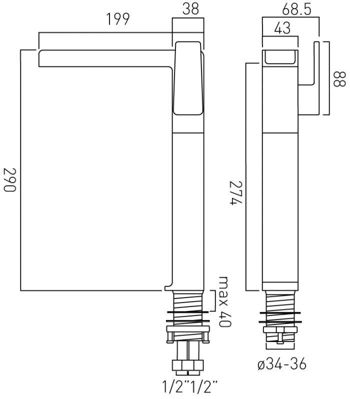 Vado tall basin mixer and waterfall spout SYN-100E/SB-C/P