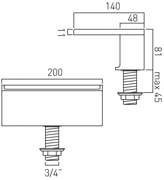Vado Notion waterfall bath spout SYN-140/D-C/P