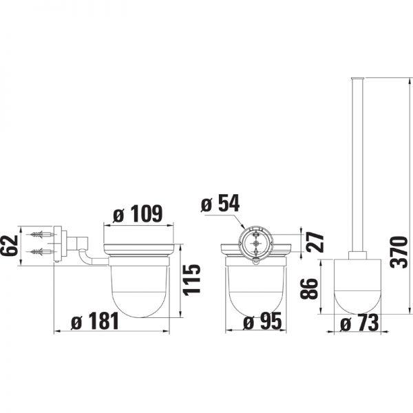 Saneux TEMPUS Wall Mounted Toilet brush & holder TA310