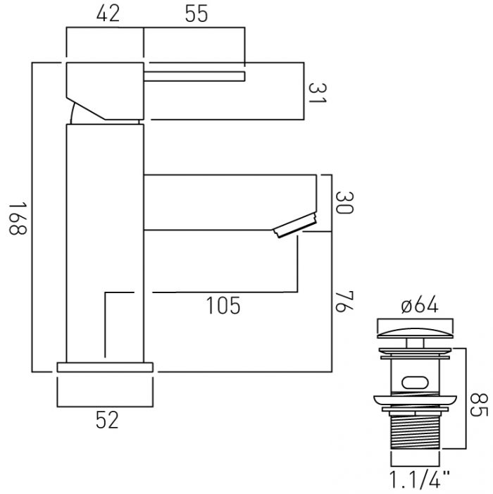 Vado Te mono basin mixer with waste TE-100/CC-C/P
