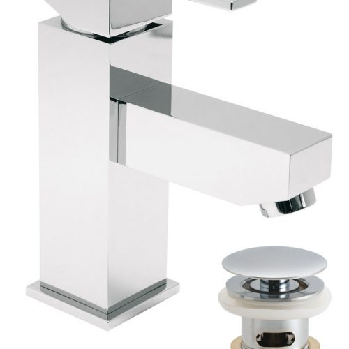 Vado Te mini basin mixer tap with waste TE-100M/CC-C/P