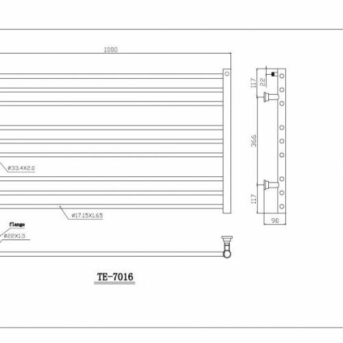 Saneux Tempus 600 X 1000 stainless steel rail TE-7016