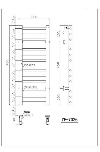 Saneux TEMPUS 790 x 300mm Stainless TE-7026
