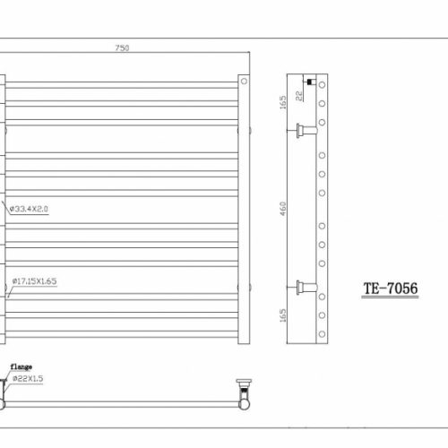 Saneux TEMPUS 790 X 750 stainless steel rail TE-7056