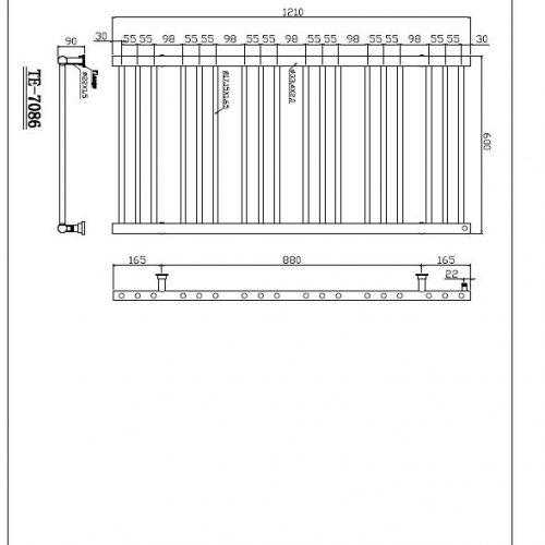 Saneux TEMPUS 1210 X 600mm stainless steel rail TE-7086