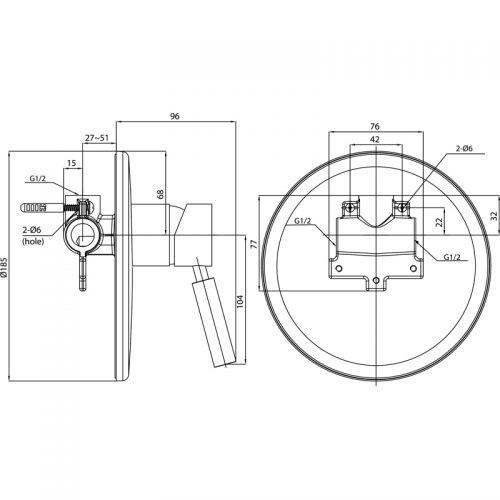 Saneux Tempus concealed manual valve TE370