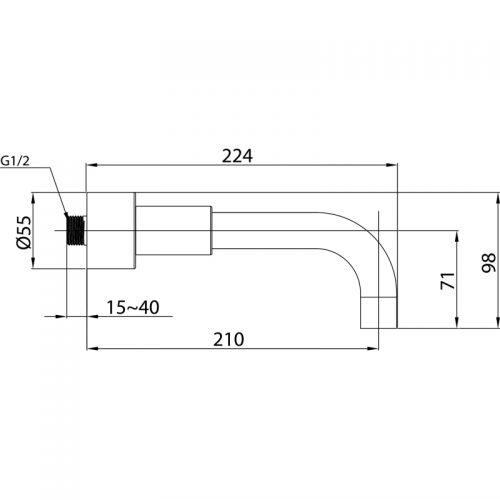 Saneux Tempus 210mm projection wall bath spout only TE800