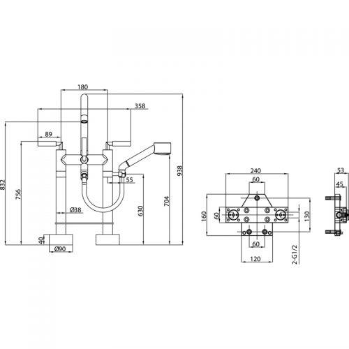 Saneux Tempus Deck Mounted bath shower mixer TE812
