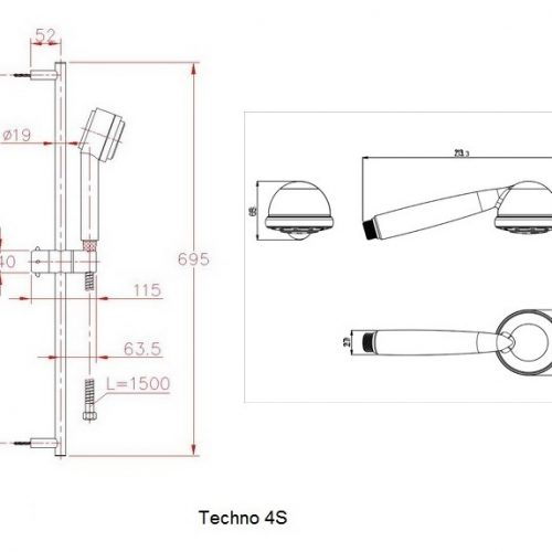 Just Taps Plus Techno 70cm Slide Rail Kit Techno4S