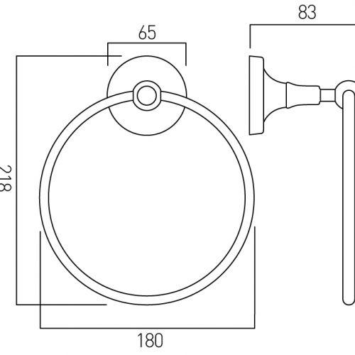 Vado Tournament towel ring wall mounted TOU-181-C/P
