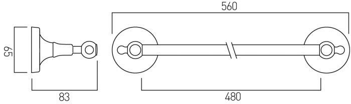 Vado Tournament towel rail 560mm wall mounted TOU-184-C/P