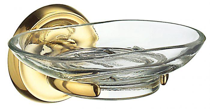 Smedbo Villa Polished Brass Holder with Glass Soap Dish V242