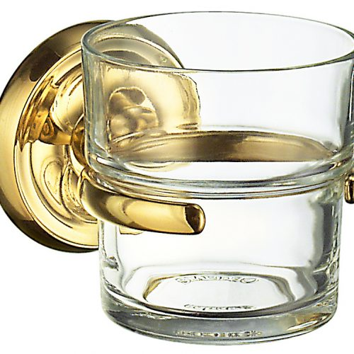 Smedbo Villa Polished Brass Holder with Glass Tumbler V243