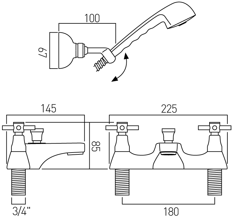 Vado Vecta bath shower mixer tap and kit VEC-130/CD+K-C/P