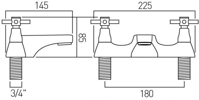 Vado Vecta 2 hole bath filler deck mounted VEC-137-C/P