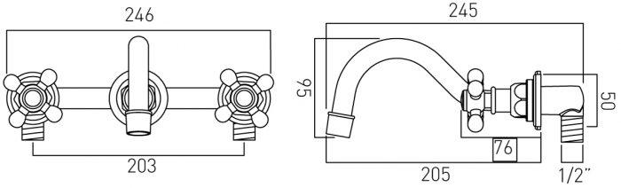 Vado Victoriana 3 hole basin mixer wall mounted CP