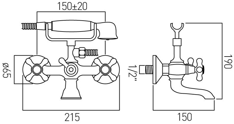 Vado Victoriana exposed bath shower mixer kit VIC-120/CD-C/P