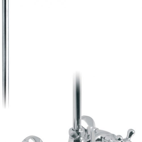 Vado bath shower mixer with rigid riser VIC-121/R/CD-C/P