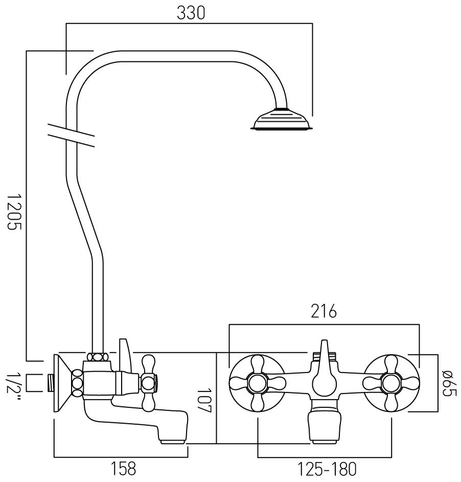Vado bath shower mixer with rigid riser VIC-121/R/CD-C/P