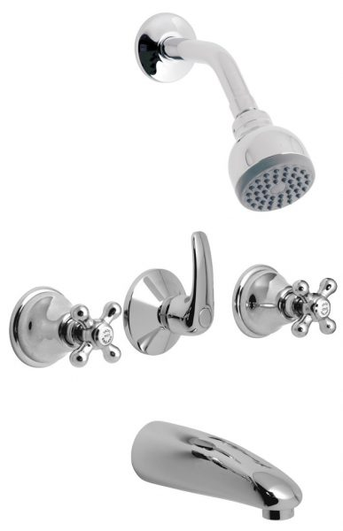 Vado 2way bath shower mixer & fixed head VIC-124/CD+H-C/P
