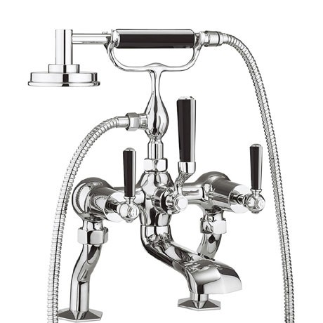Waldorf Black Lever Bath Shower Mixer And Kit WF422DC_BLV