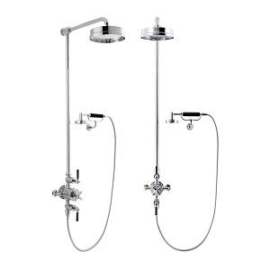 "Waldorf Black Lever Shower Valve With 12"" Head And Cradle"