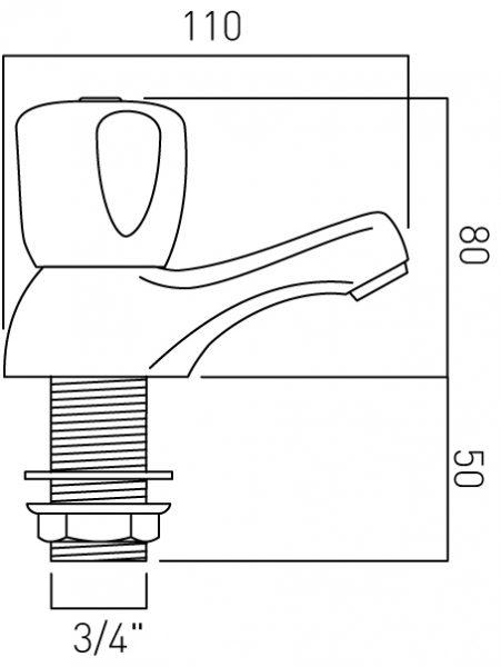 Vado bath pillar taps deck mounted WAR-236/CD-C/P