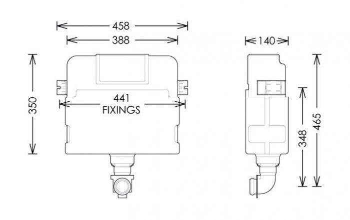 Bauhaus Dual Flush Concealed Cistern 465 x 458mm WCC47X46+