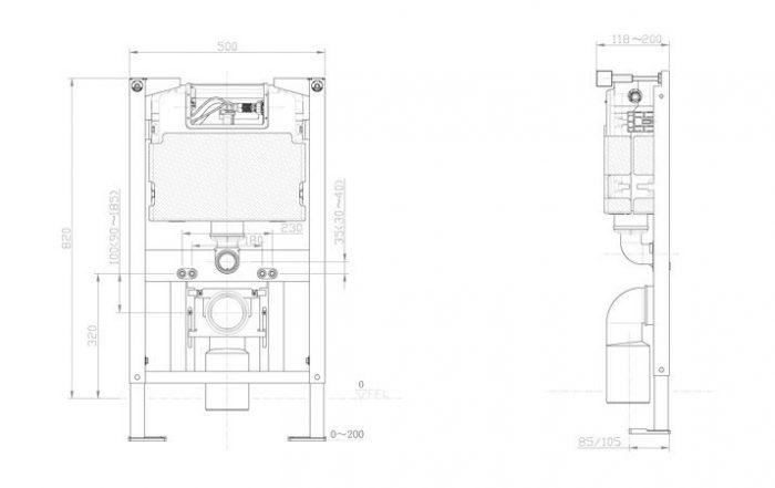 Bauhaus WC Frame & Cistern 820 X 500mm WCF82X50+