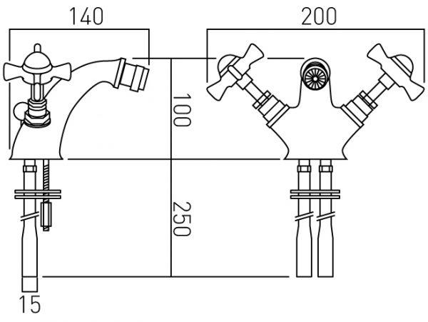 Vado mono bidet mixer deck mounted with waste WEN-110-C/P