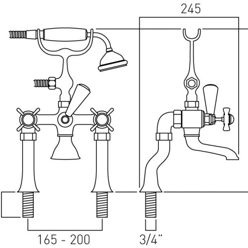 Vado bath shower mixer with shower kit chrome WEN-131-C/P