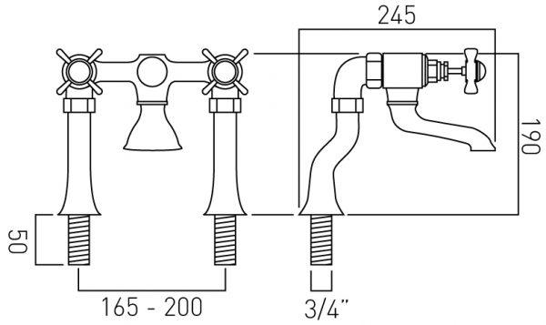 Vado 2 hole bath filler pillar mounted WEN-137-C/P