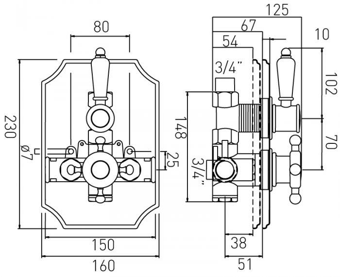 Vado Regatta thermostatic valve in antique gold WG-15951-A/G