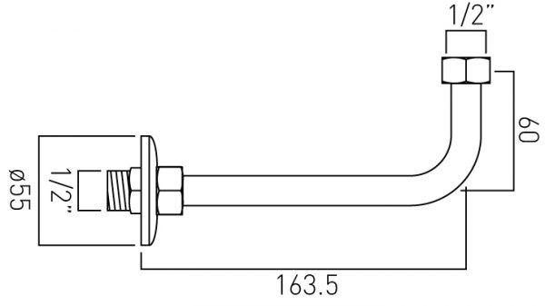 Vado return elbow for exposed shower valves WG-RETURNELBOW-C/P