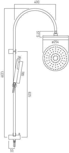 Vado slide rail shower kit with overhead shower WG-RRK/DIV/SQ-148-C/P