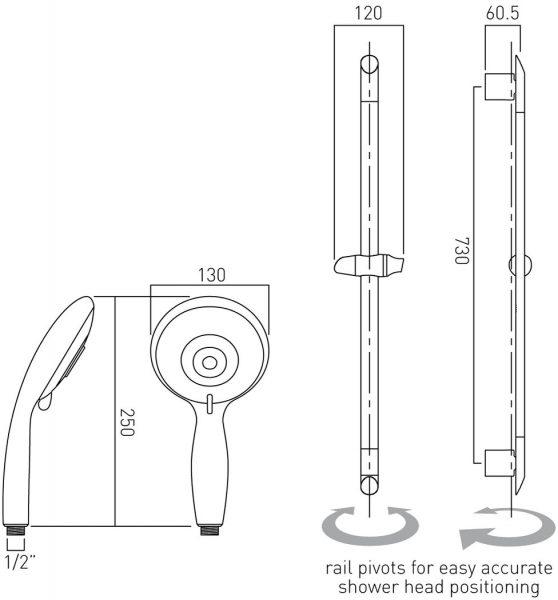Vado space 5 function low pressure shower handset WG-SPACE-C/P