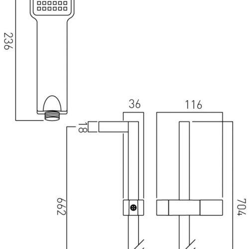 Vado low pressure 700mm shower kit WG-V2KIT-C/P