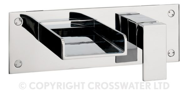 Crosswater Water Square Bath 2 Hole Filler Wall WS321WC