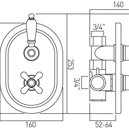 Vado westbury conceald thermostatic valve WSB-148-3/4-C/P