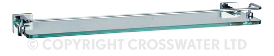 Crosswater Zeya Glass Shelf with Rail 500mm Chrome ZE030C