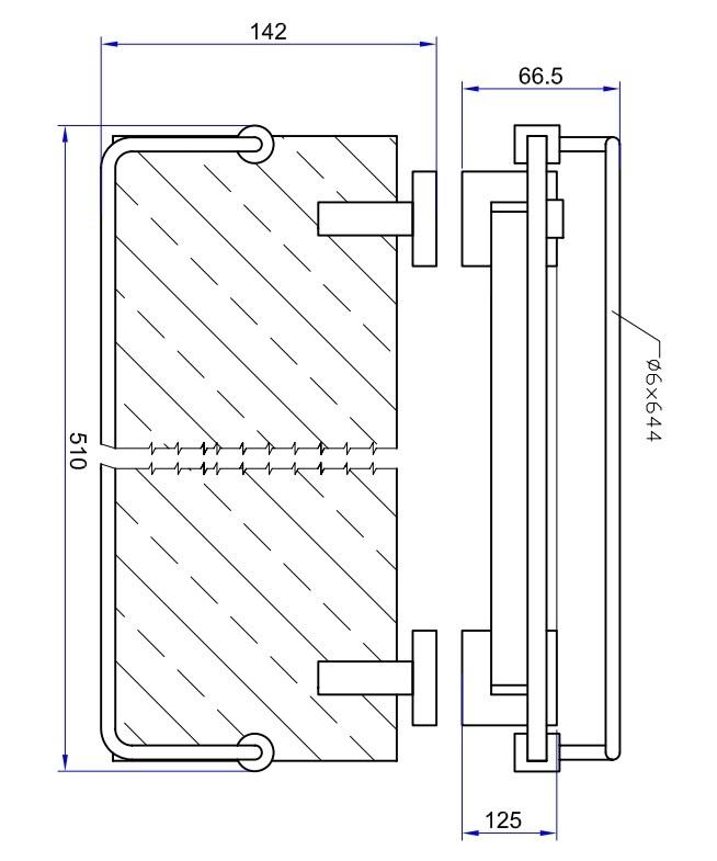 Crosswater Zeya Glass Shelf with Rail 500mm Chrome ZE030C